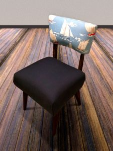 Armless chair with marine print on backrest
