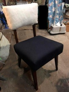 Padded back and upholstered seat
